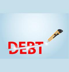 Cutter knife cutting debt word financial concept vector