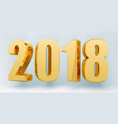 Date 2018 on a light background in 3d format gold vector