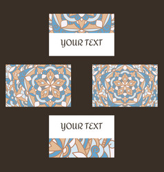 decorative floral business cards mandala vector image