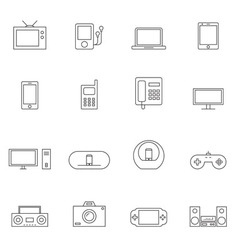 Device icon set outline vector image