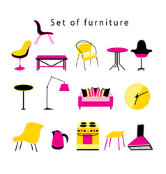 different furniture and items in home vector image