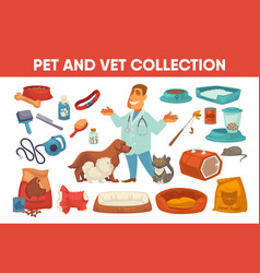 Dog cat pet stuff and supply set vector