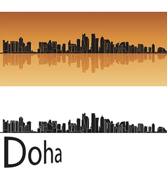 Doha skyline in orange background vector image