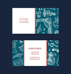 Doodle theatre elements business card vector
