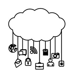 Figure cloud data services apps vector