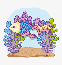 Fish animal under water with tropical plants vector