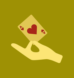 Flat icon on stylish background hand playing cards vector