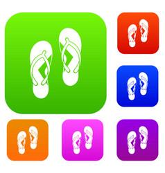 flip flop sandals set color collection vector image