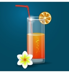 Fresh orange juice with plumeria flowers vector