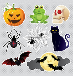halloween icons set isolated on white background vector image