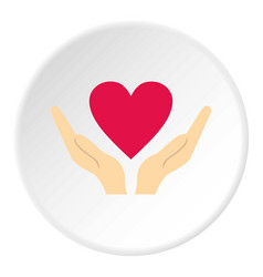 Hands holding heart icon circle vector