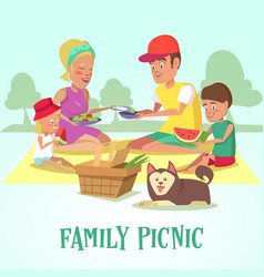 Happy family on a picnic in the park vector
