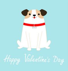Happy valentines day dog sitting white puppy vector