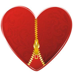 heart with golden zipper vector image