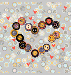 hearts with buttons on vector image