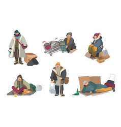 Homeless people cartoon flat characters set vector