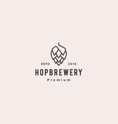 hop brew brewery logo hipster retro vintage label vector image