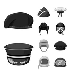 Isolated object headgear and modern icon set vector