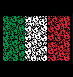 italy flag collage of earth icons vector image
