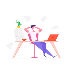Lazy office worker with hands behind head sit vector