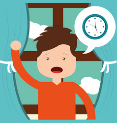 Little boy wake up clock and window background vector