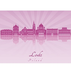 Lodz skyline in purple radiant orchid vector image