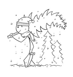 man carrying tree from forest for christmas vector image