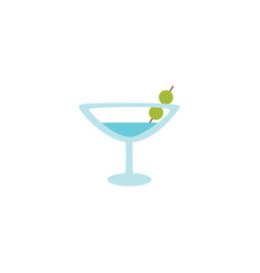 martini cocktail with olives in glass icon flat vector image