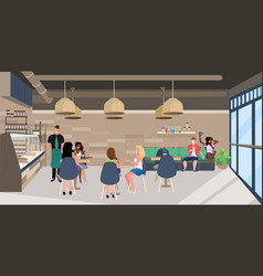 Mix race people sitting at cafe tables visitors vector