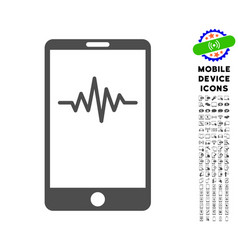 Mobile signal graph icon with set vector