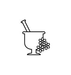 mortar with flowers outline icon signs and vector image