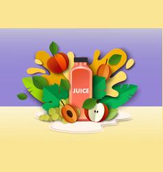 multifruit juice drink bottle fresh fruits vector image