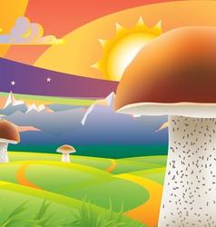 Mushroom sunset vector