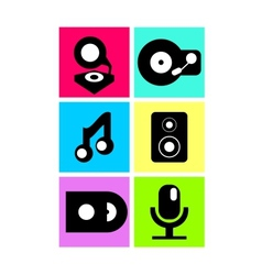 neon colored music icons flat design vector image