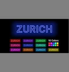 Neon name of zurich city vector
