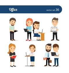 Office people set vector image