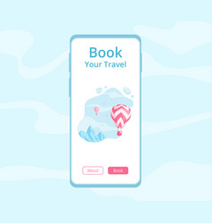Online travel booking mobile app concept vector
