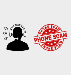 Operator talk icon and distress phone scam vector