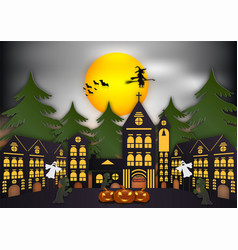 paper art of halloween background with witch vector image