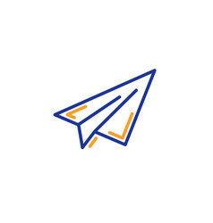 paper plane line icon airplane flight transport vector image