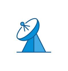 Parabolic antenna concept blue icon vector