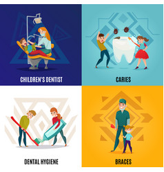 pediatric dentistry concept set vector image