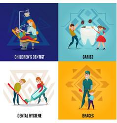 Pediatric dentistry concept set vector