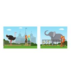 people visiting zoo set visitors watching vector image