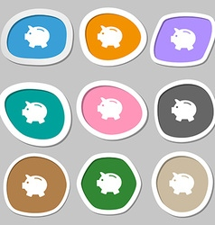 Piggy bank - saving money symbols Multicolored vector