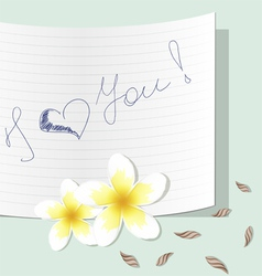 Plumeria with a note about love vector