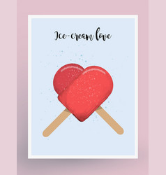 postcard design ice-cream love vector image