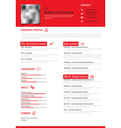 professional personal resume cv in red simple vector image
