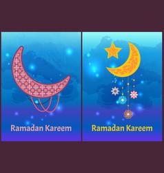 ramadan kareem posters set crescent moon and stars vector image