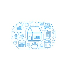 Real estate home outline icon concept vector image